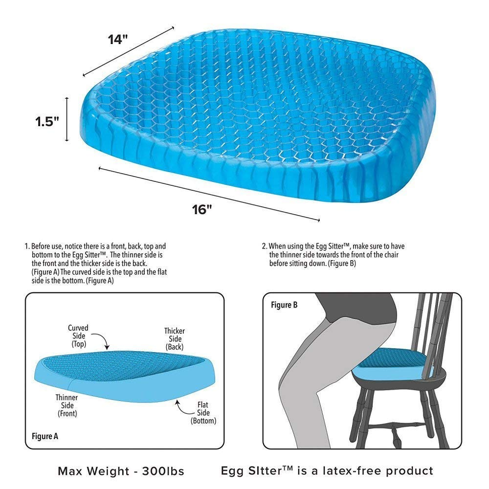 CADITEX Egg Gel Sitter Seat Cushion, Non-Slip Cushion Perfect for Office Chair, Car, Wheelchair Cover Sitter Soft Pad Pain Relief Back, Sciatica