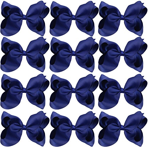 Large Boutique Hair Bows 6 Inch Cheerleading Cheerleader Cheer Bow Alligator Clips(Navy Blue)