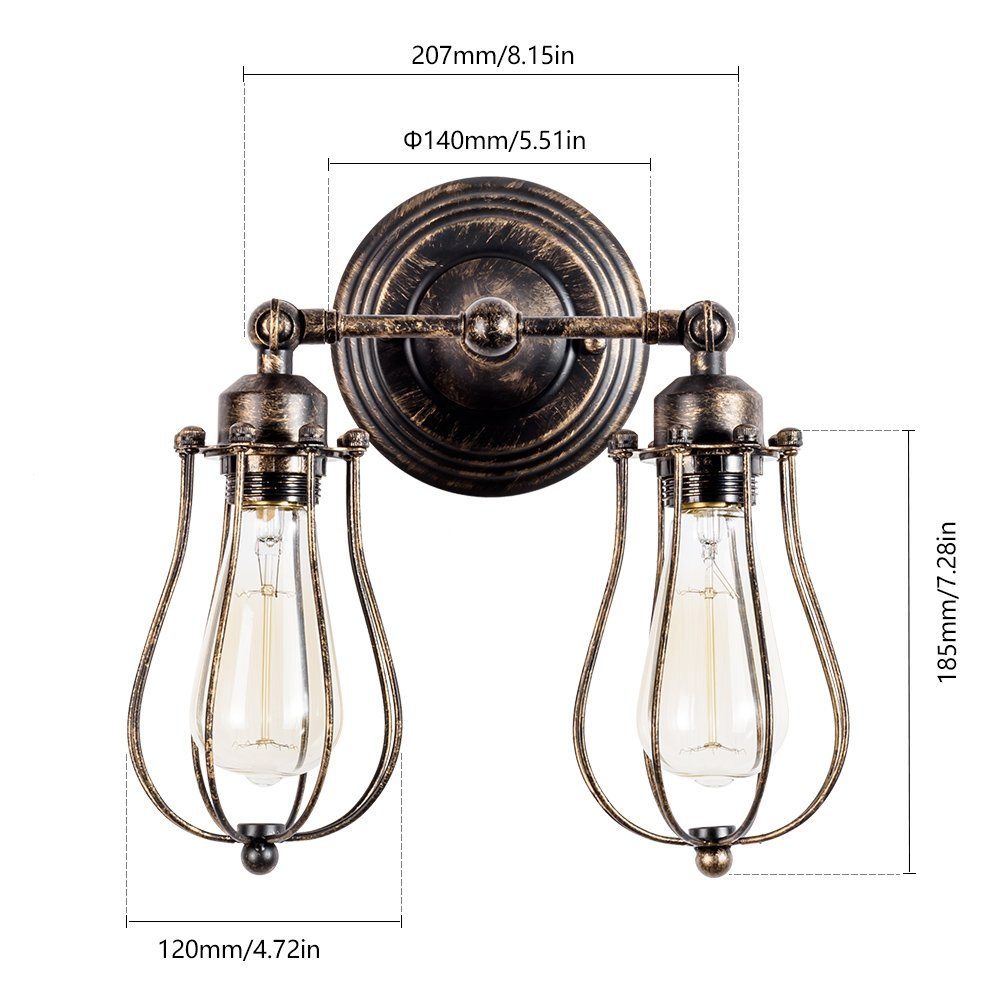 with 2 Light Vintage Wall Lamp Adjustable Industrial Rustic Wire Cage Wall Light Retro Style Indoor Lighting Fixture ;Moonkist Oil Rubbed Bronze