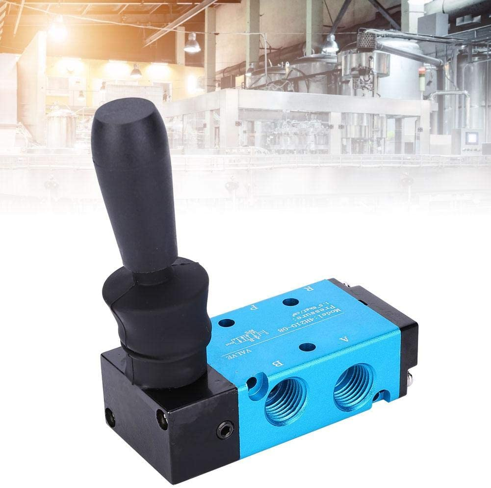 G1//4in Hand Lever Pneumatic Valve 4H210-08 Aluminum Alloy 2-Position 5-Way Manual Push Lever Operated Hand Control Push Valve Air Component