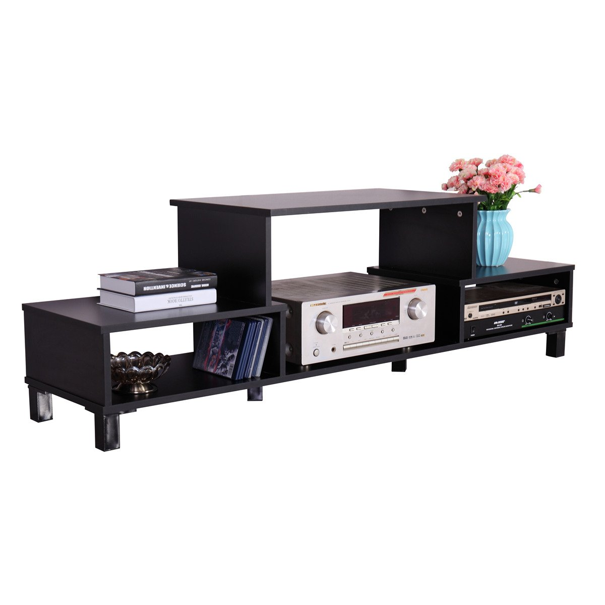 Winmart Modern Entertainment Media Storage Console Wood Cabinet Home Theater Shelf TV Rack by Winmart