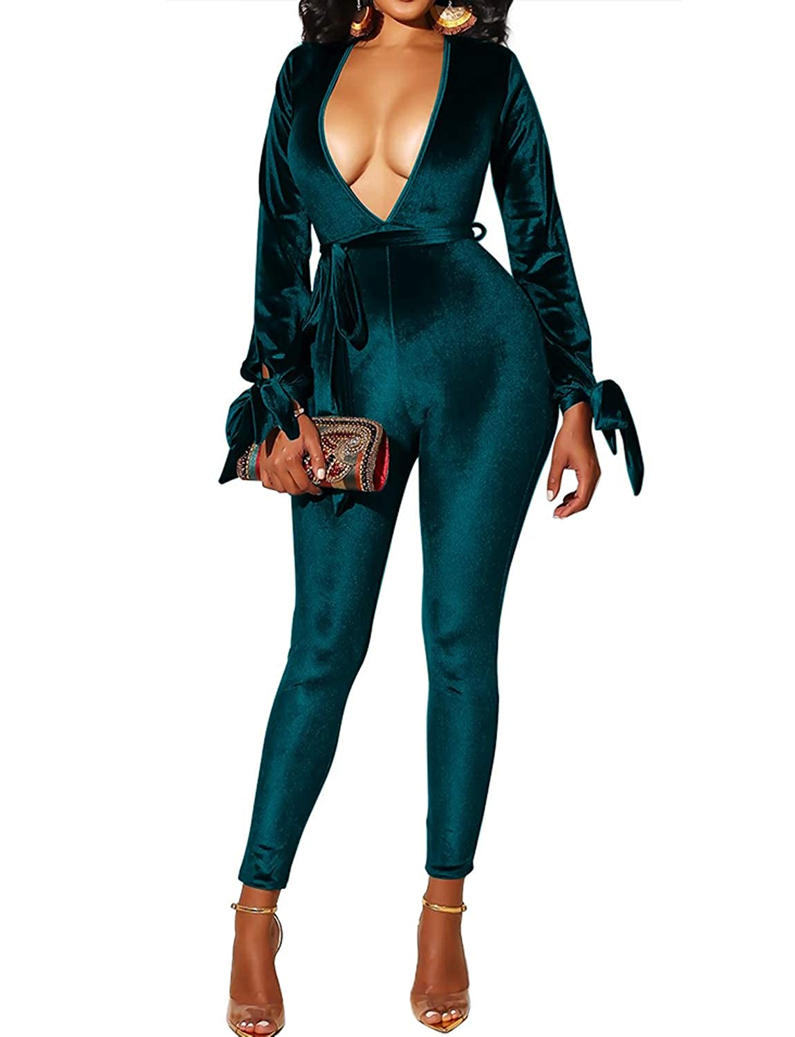 2ab6c11916 Amazon.com  VWIWV Women s Sexy V Neck Long Sleeve Velvet Jumpsuit Romper  Bodycon Belted Party Clubwear  Clothing