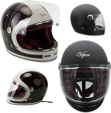 Viper F656 Vintage Motorcycle Bike Fibreglass Helmet Black//White XS