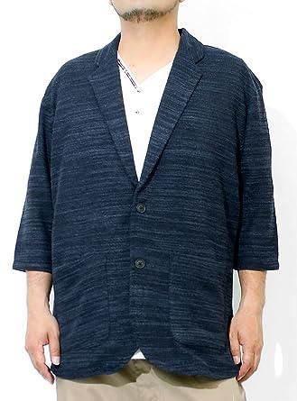 da442798be4521 Amazon | テーラードジャケット メンズ 大きいサイズ 七分袖 スラブ サマーニット 薄手 ジャガード柄 切替 ジャケット | コート・ジャケット  通販