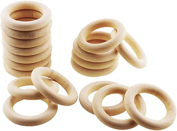 55mm ISusser 50pcs DIY Natural Wood Rings 2.2