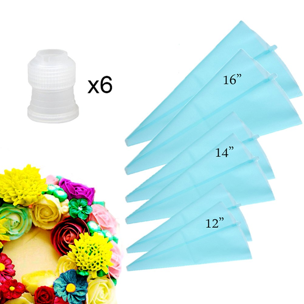 - 6 Pack 12+14+16 Silicone Pastry Bags 3 Sizes Reusable Icing Piping Bags Baking Cookie Fondant Cake Decorating Bags Bonus 6 Icing Couplers fit to Standard Size Pastry Piping Tips