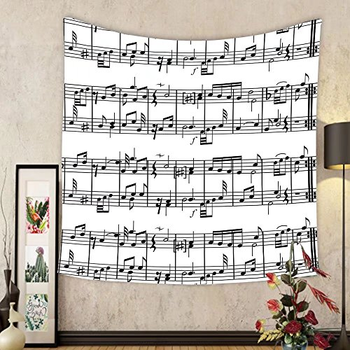Gzhihine Custom tapestry Music Decor Tapestry Musical Notes Instrument Violin Cello Watercolor Based White Backdrop Print for Bedroom Living Room Dorm Purple and (Solid Yellow Gold Musical Notes)