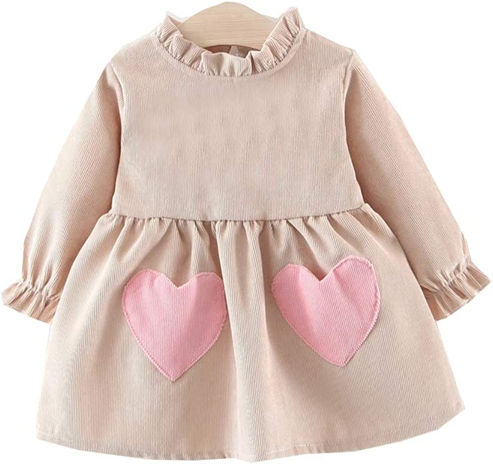 Zoeys DreamHouse Inflant Baby Girls Long Sleeve Ruffles Runch Dress Casual Outfit with Lovely Heart Pockets