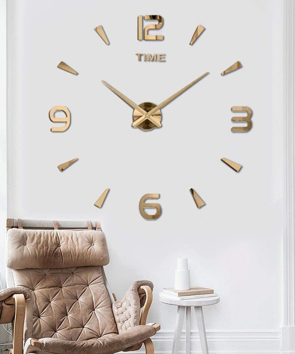 SIEMOO Large DIY Wall Clock Kit, 3D Modern Frameless Wall Clock with Mirror Number Stickers for Home Living Room Bedroom Office Decoration-Gold