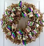 Mardi Gras Wreath | Fat Tuesday Mesh Front Door Wreath | Purple Emerald Green Gold