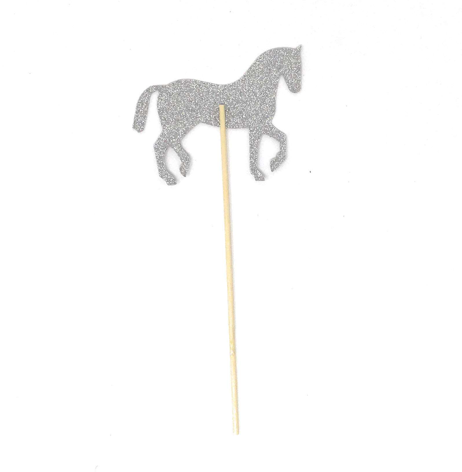 PaperGala Horse Double Sided Centerpiece Sticks Set of 8 Real Glitter (Silver) by PaperGala (Image #3)