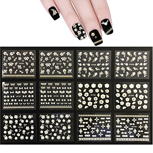 (ALLYDREW 50 Sheets White Flowers & Bows with Gold Rhinestone Nail Stickers Nail Art 3D Nail Decals )