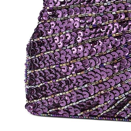 Peacock Purse Evening Clutch Purple Beaded Vintage Bags Sequin Kisschic 1XwgqtWcP