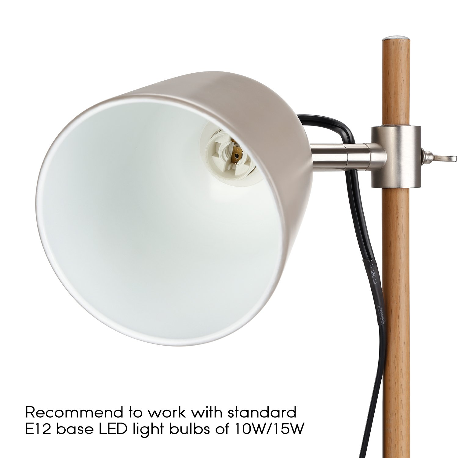 TORCHSTAR Stylish Metal Desk Lamp with E12 Socket, UL Certified Cable Cord, Adjustable Gray Steel Shade Table Light with Wood Grain Finish Iron Pole, Reading Office Study Studio Work Lighting