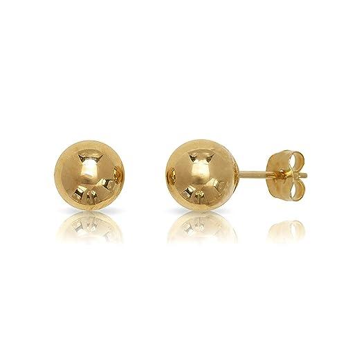 Amazon Com 14 Karat Yellow Gold Ball Tiny Earrings 3 Mm Baby Men