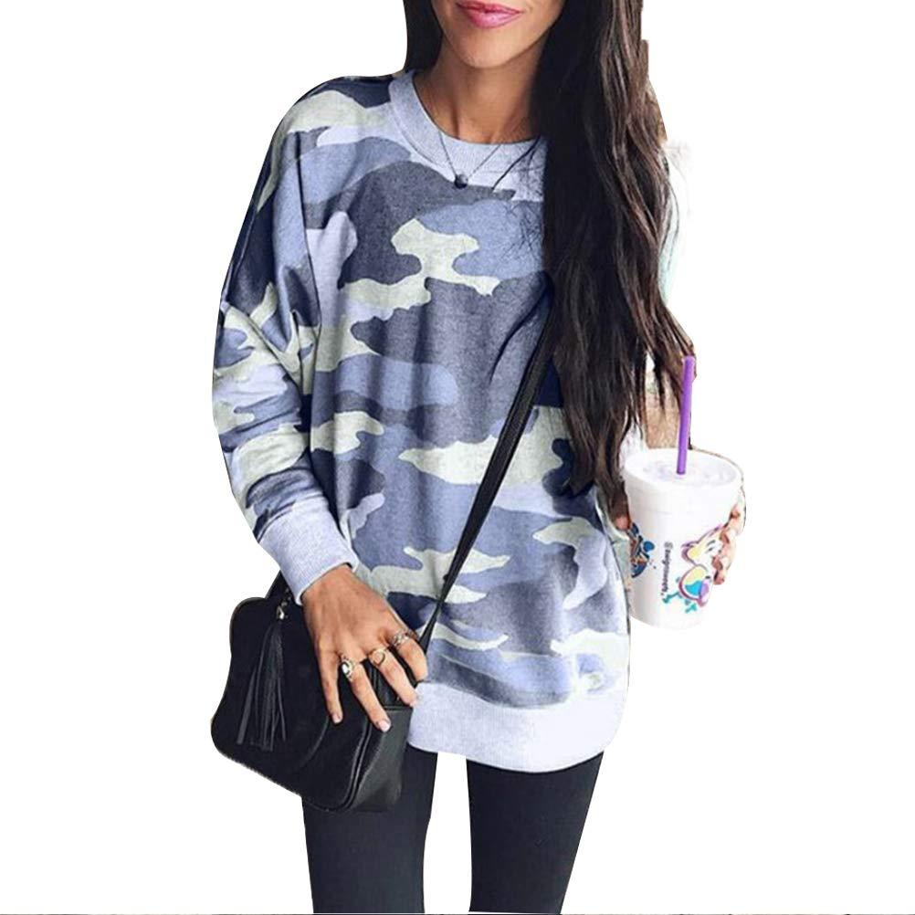 YAXAN Women Casual Camouflage Graphic Long Sleeve Crew Neck Loose Pullover Sweatshirts Hoodies