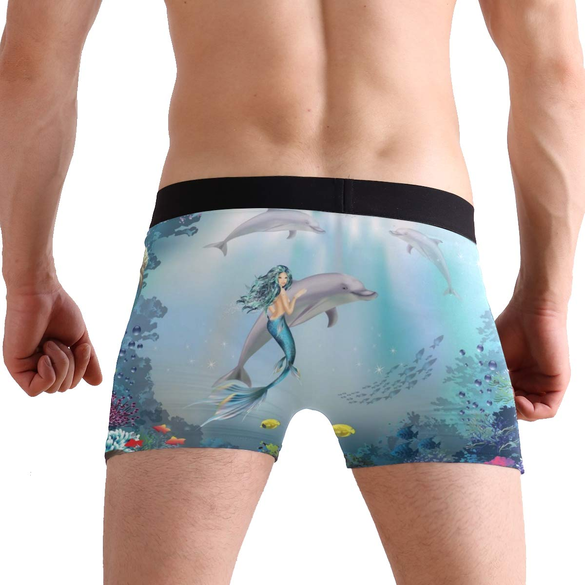 KUWT Underwater World Dolphins Mermaid Mens Boxer Briefs Underwear Comfortable Underpants for Mens Boys Youth
