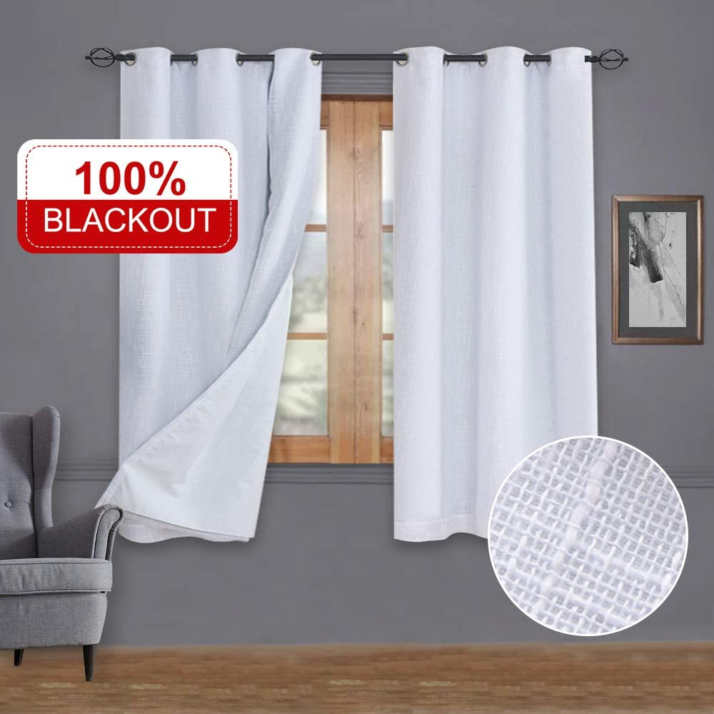 100/% Blackout Curtains 50x63 Chocolate with Liner Linen Blackout Curtains/& Blackout Thermal Insulated Liner Burlap Curtains-Set of 2 Panels Rose Home Fashion Natural Linen Look