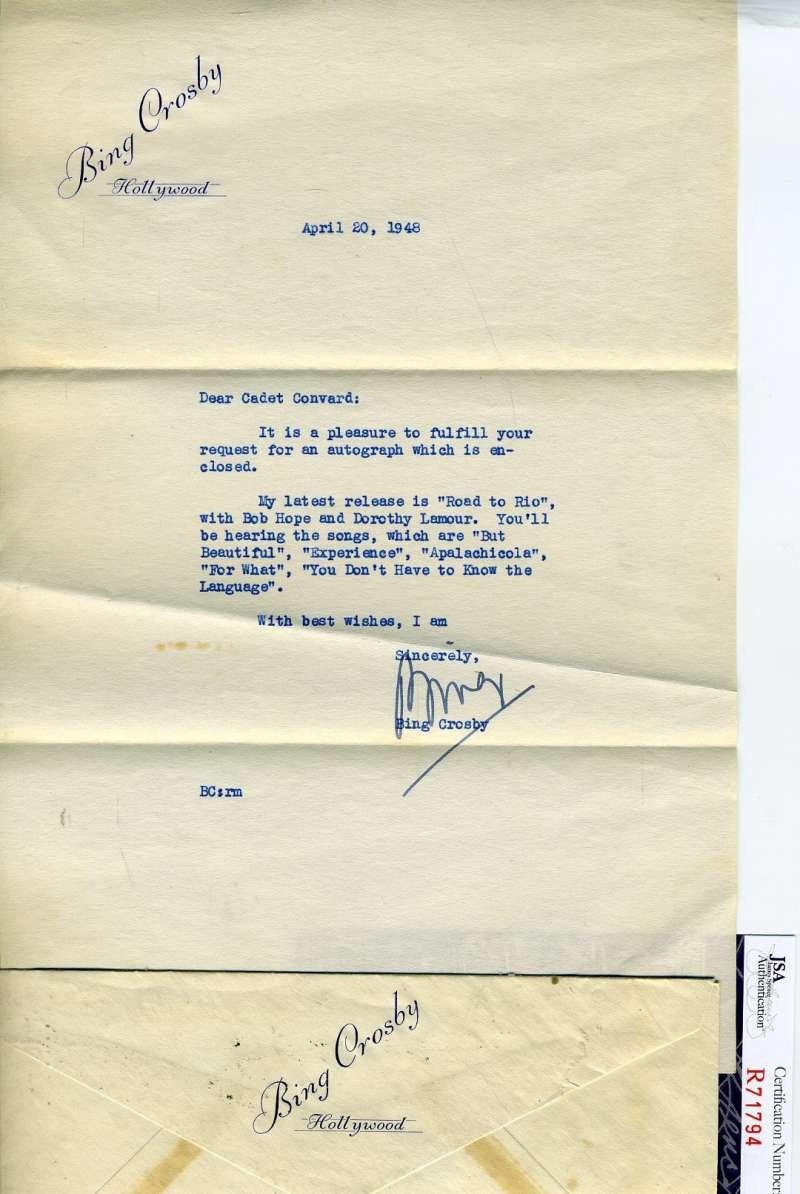 Bing Crosby Jsa Coa Hand Signed 1948 Letter Authentic Autograph At