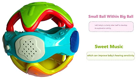 Techhark Colorful Lovely Attractive Rattles Light Music Baby Fun Ball, with Non-Toxic - Baby Ball for Babies, Toddlers, Infants & Children (ABS Baby Ball) (Light Music Ball)