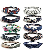 LZYMSZ 10 Packs Floral Print Headwrap,Boho Women's Headbands Criss Cross Elastic Head Wrap Twisted Vintage Hair Accessories (10-color)