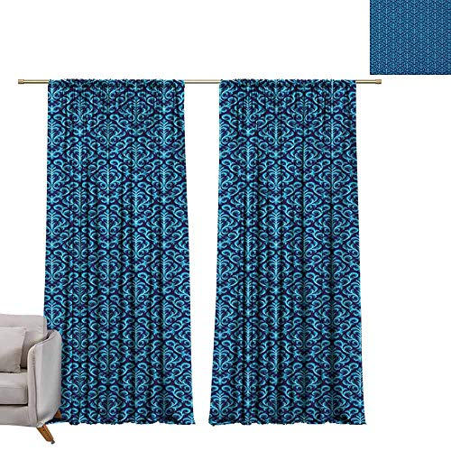 Flush Damask (berrly Decorative Curtains for Living Room Damask,Floral Ornament Various Geometrical Shapes Curved Lines Vibrant Color Palette, Indigo Sky Blue W72 x L84 Customized Curtains)
