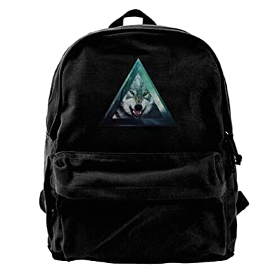 Tumblr Hipster Wolf Canvas Backpack Travel Rucksack Backpack Daypack Knapsack Laptop Shoulder Bag