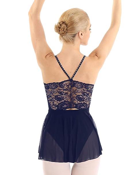iiniim Maillot Ballet Mujer Encaje sin Mangas Maillot con Falda ...