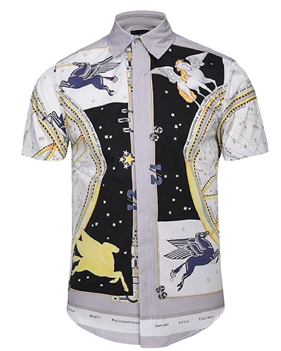 Qiangjinjiu Mens Short Sleeve Casual Digital Printing Button Turn Down Collar Shirt