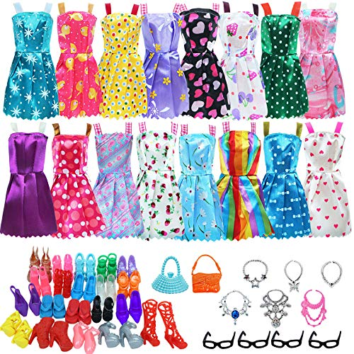 BJDBUS 32 pcs Random Doll Clothes and Accessories Including 10 pcs Fashion Mini Dresses 22 pcs Shoes, Glasses, Necklaces, Handbag Accessories for 11.5 Inch Girl Doll