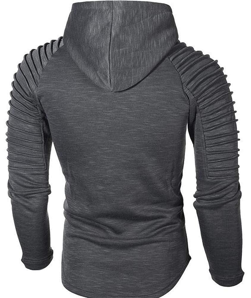 Joe Wenko Men Solid Raglan Sleeve Pleated Drawstring Curved Hem Pullover Hooded Sweatshirts