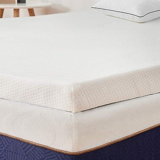 BedStory Colchón Topper Viscoelástico 135x190x5cm, Sobrecolchón Ergonómico con Funda Extraíble, con Esencia de Lavanda, Cubierta de Microfibra, ...
