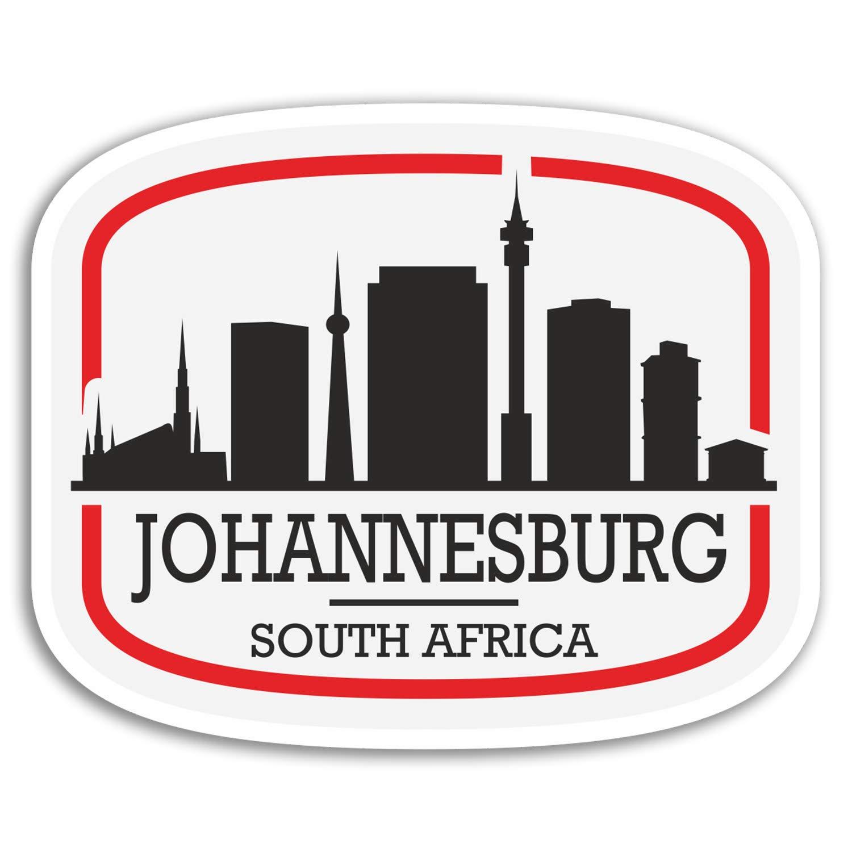 10 cm de Large Ville Sticker Laptop Bagages # 17096 DestinationVinyl 2 x 10 cm Johannesburg Afrique du Vinyle Autocollants