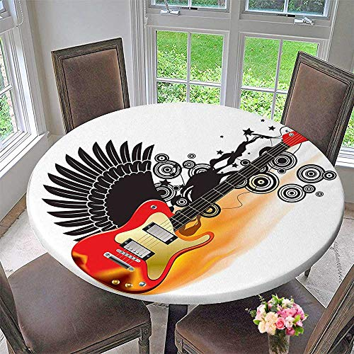 (Mikihome Modern Table Cloth Bass Guitar with Wings in Flame and Spirals Rock Indoor or Outdoor Parties 47.5