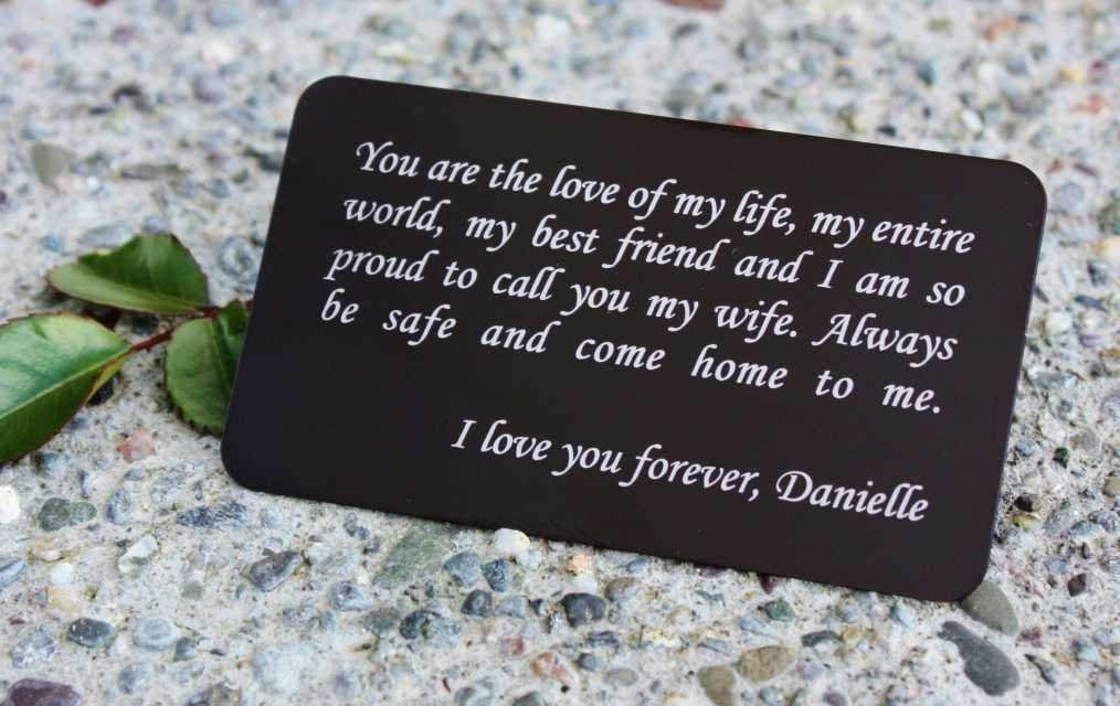 Personalized Aluminum Wallet Love Note Insert, Custom Engraved Wallet Card Insert in Your Choice of Fonts, GFT127BK - Father's Day Gift, Grooms Gift for Him, Anniversary Gift, Boyfriend Gift