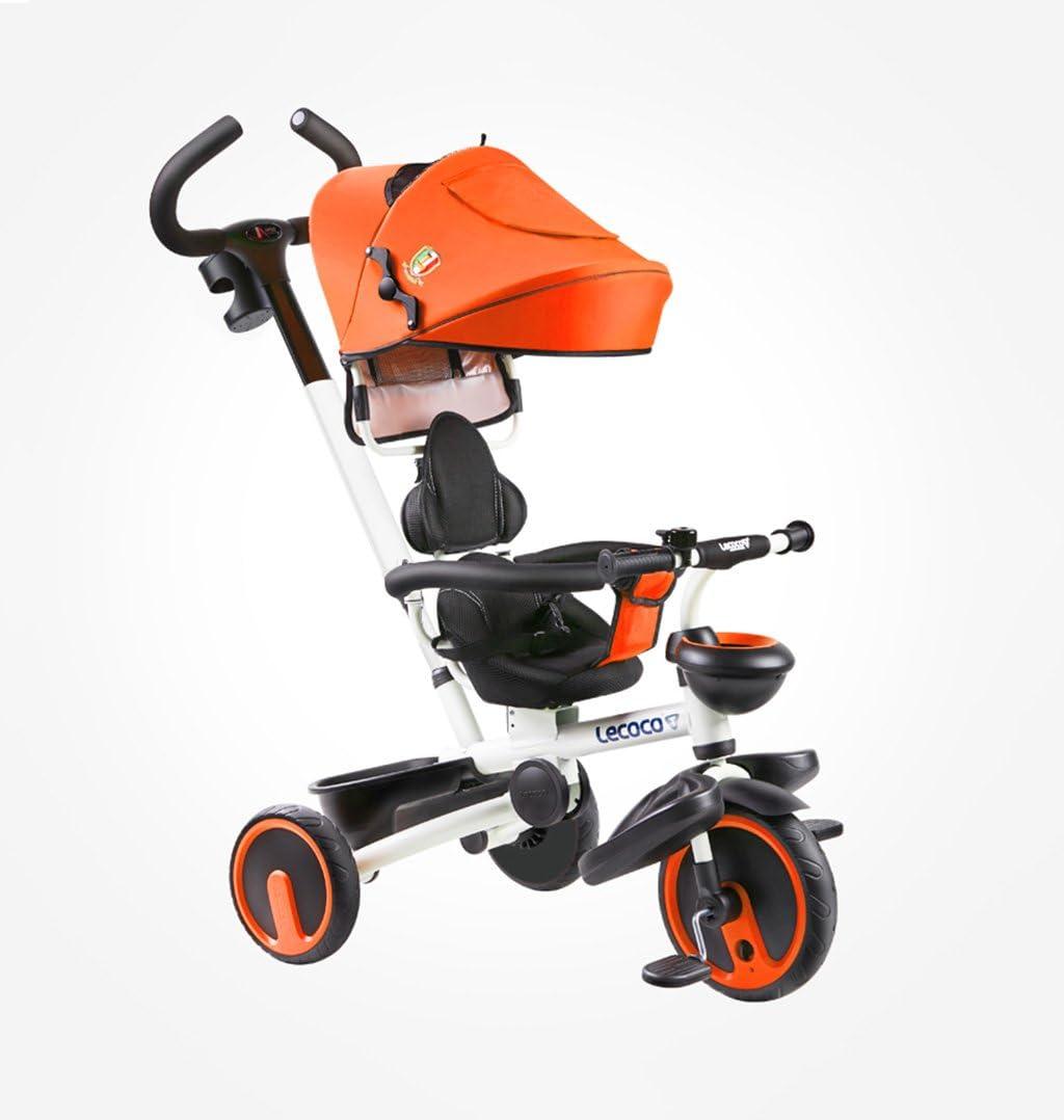 LBYMYB 1-5 Años Moto Triciclo Plegable For Niños/Quiet/Giratoria Silla De Paseo De Color Naranja Antigua Cochecito De Bebé Honda del Bebé De 25 Kg Bicicleta para niños