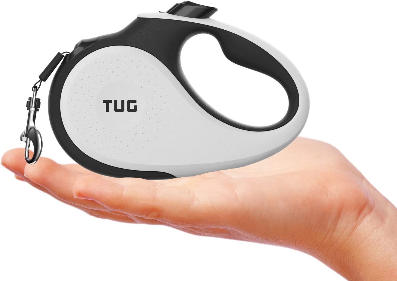 TUG Tiny 360/° Tangle-Free Heavy Duty Retractable Dog Leash with Anti-Slip Handle; 10 ft Strong Nylon Tape//Ribbon; One-Handed Brake Lock Pause