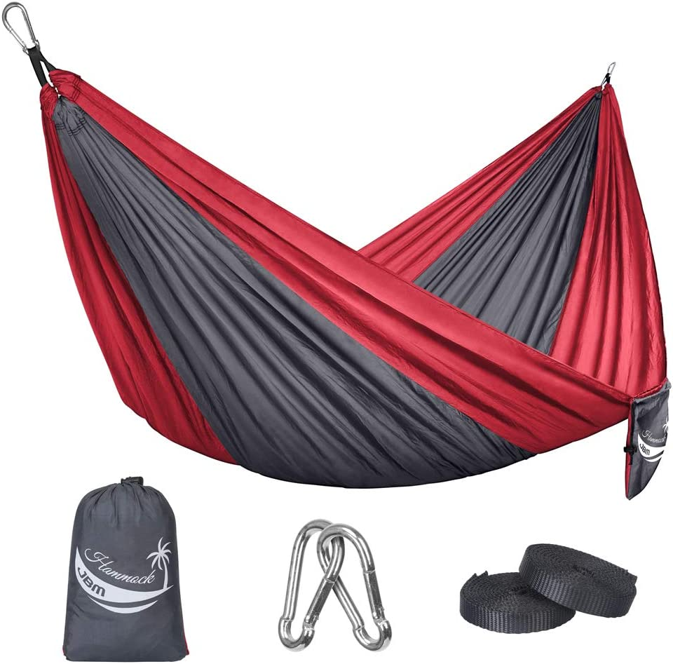 JBM Camping Hammock Single Double Portable Parachute Hammock Hiking Travel Backpacking – Nylon Hammock Swing – Support 400lbs – 600lbs with Nylon Ropes and Steel Carabiners