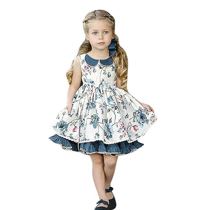Luckycat Ropa Bebe Niña Verano 2019 Vestido Bebe Niña Chicas Encaje Volantes Hebilla Calado Vestido de Princesa Vestido Niña Ceremonia Princesa ...