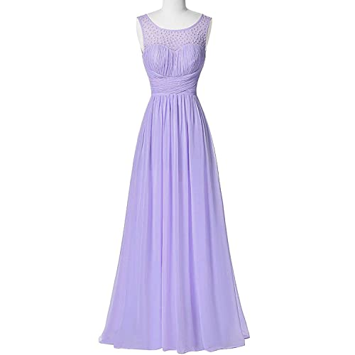 Himoda Womens Scoop Beaded Prom Gowns Chiffon Bridesmaid Dresses Long H045 18W Lilac