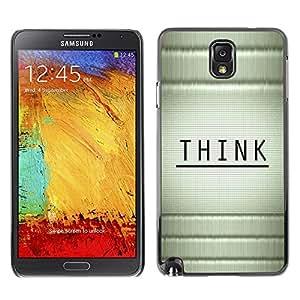 TopCaseStore / la caja del caucho duro de la cubierta de protección de la piel - Think Wood Bamboo Black Message - Samsung Galaxy Note 3 N9000 N9002 N9005
