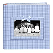 Pioneer Photo Albums 200-Pocket Gingham Fabric Frame Cover Photo Album for 4 by 6-Inch Prints, Blue