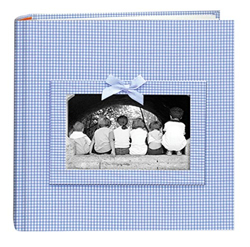 Pioneer Photo Albums 200-Pocket Gingham Fabric Frame Cover Photo Album for 4 by 6-Inch Prints, (Photo Album Baby Blue)