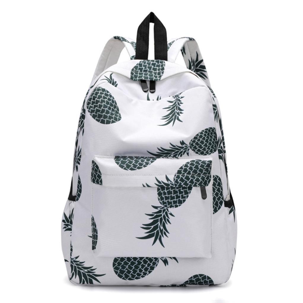 Women Pineapple Print Backpacks Travel School Bags