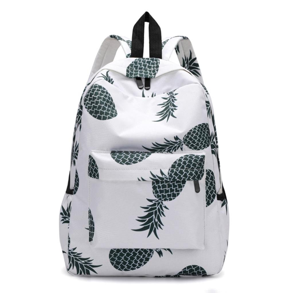 Women Pineapple Print Backpacks Travel School Bags