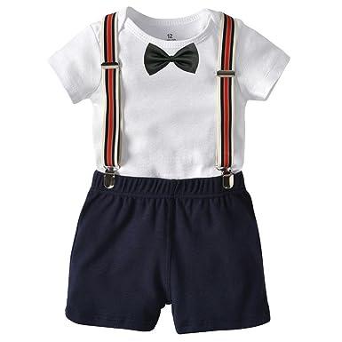 b6de40519 Baby Boys Outfits Short Sleeve Gentleman Formal Romper Suit + ...