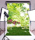 5x7ft Lfeey Vinyl Photography Background Backdrops Lawn Grass Fence Flower Outdoor Nature Scenery Tree Leave Have a Picnic Kids Children Family Together Studio Photo Props 1.5x2.2m Customzied