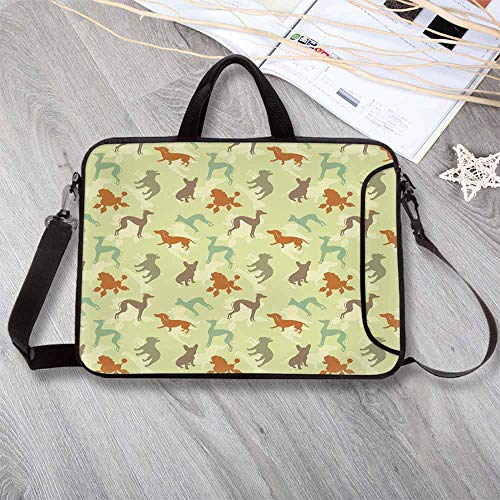 Dog Lover Stylish Neoprene Laptop Bag,French Bulldog Greyhound Poodle Terrier Silhouette Pure -