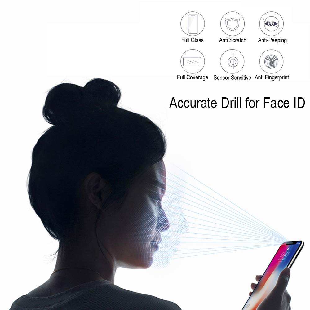 2Pack Privacy Screen Protector Glass Compatible with iPhone Xs X 5.8inch Anti Spy Anti Peep Full Screen Tempered Glass for iPhone X XS 9 Hardness Bubble Free Antiy Scratch