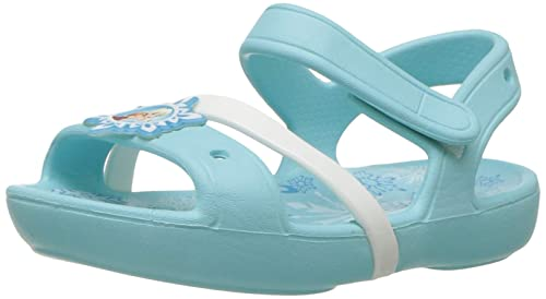 Crocs Unisex Child Lina Frozen Sandal K Flat, Ice Blue, 4 M US Toddler